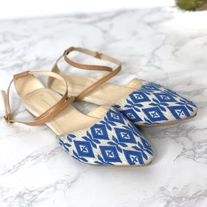 Anthropologie Laurie Beaded Flats Blue Sandals
